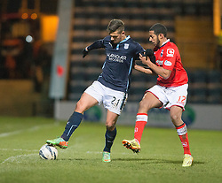 Dundee's Luka Tankulic and Ross County's Jamie Reckord. <br /> Dundee 1 v 1 Ross County, SPFL Premiership game player 4/1/2015 at Dundee's home ground Dens Park.