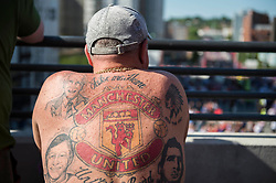 Man united fan shows of his tattoos.  - Mandatory by-line: Alex James/JMP - 19/05/2018 - FOOTBALL - Wembley Stadium - London, England - Chelsea v Manchester United - Emirates FA Cup Final