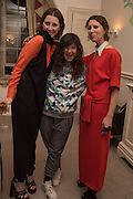 STEFANIA PRAMMA; FRANCES STARK; VALERIA NAPOLEONE, Stefania Pramma launched her handbag brand PRAMMA  at the Kensington residence of her twin sister, art collector Valeria Napoleone.. London.  29 April 2015