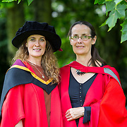 """23.08.2016        <br /> Over 300 students graduated from the Faculty of Arts, Humanities and Social Science at the University of Limerick today. <br /> <br /> Attending the conferring ceremony was Dr. Mairead Vaughan, Blarney Co. Cork who conferred as a Doctor of Philosphy pictured with one her internal supervisors Dr. Mary Nunan. Picture: Alan Place.<br /> <br /> <br /> <br /> <br /> UL Graduates Employability remains consistently high as they are 14% more likely to be employed after Graduation than any other Irish University Graduate<br /> Each year, the Careers Service collects information about the 'First Destinations' of UL graduates. During the April/May period following graduation, we survey those who have completed full-time undergraduate and postgraduate courses for details on their current status. This current survey was conducted nine months after graduation and focuses on the employment and further study patterns of the graduates of 2015. A total of 2,933 graduates were surveyed and a response rate of 87% was achieved. <br /> As the University of Limerick commences four days of conferring ceremonies which will see 2568 students graduate, including 50 PhD graduates, UL President, Professor Don Barry highlighted the continued demand for UL graduates by employers; """"Traditionally UL's Graduate Employment figures trend well above the national average. Despite the challenging environment, UL's graduate employment rate for 2015 primary degree-holders is now 14% higher than the HEA's most recently-available national average figure which is 58% for 2014"""". The survey of UL's 2015 graduates showed that 92% are either employed or pursuing further study."""" Picture: Alan Place"""