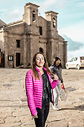 GANGI, SICILY, Federica Restiono, moved from Turin to Gangi for living with her boyfriend.  Chiesa di San Paolo in the back