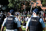 SYDNEY, NSW - SEPTEMBER 05: A heavy police presence during the Freedom Day Rally on September 05, 2020 in Sydney, Australia. Protesters argue COVID-19 is a hoax and say their freedoms are being unfairly impinged. Demonstrations are also taking place in every Australian capital city and several regional areas, including Byron Bay. (Photo by Lucca Markham/Speed Media)