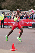 Mo Farah of Great British running at The Mall during The Virgin London Marathon on 28th April 2019 in London in the United Kingdom. Now in it's 39th year The London Marathon is a large sporting event with over 40,000 runners expected to take part.