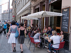 Trendy street cafe and restaurant on bohemian Neue Schonhauser Allee in Mitte Berlin Germany