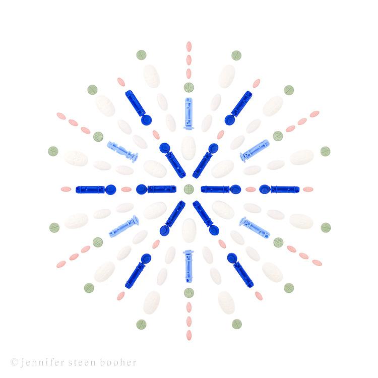 B: Metformin 18,000mg, Atorvastatin 960mg, Glimepiride 38mg, Lisinopril 150 mg, 6 used lancets, 12 sterile lancets