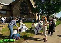 Silent prayer vigil at the Laconia Congregational Church Friday evening.  (Karen Bobotas/for the Laconia Daily Sun)