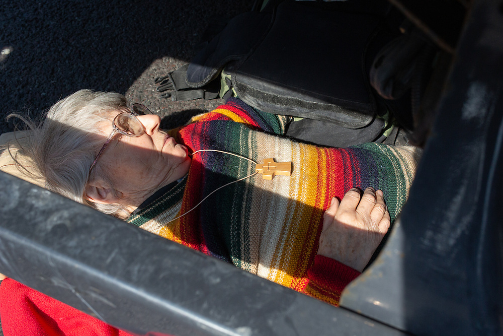 Sue Parfitt, 77, an Anglican priest, chained herself under a lorry at Marble Arch on Monday to stop traffic during the Extinction Rebellion protests against inaction on climate change. Yesterday she was arrested underneath the Berta Cáceres protest boat at Oxford Circus
