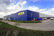 Photograph of the Ikea Distribution centre on the outskirts of the Northmaptonshire market town of Thrapston.<br /> A well known landmark along the A14 on the border of Northmaptonshire and Cambridgeshire