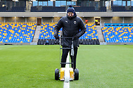 AFC Wimbledon member of staff painting the lines at Plough Lane during the EFL Sky Bet League 1 match between AFC Wimbledon and Sunderland at Plough Lane, London, United Kingdom on 16 January 2021.