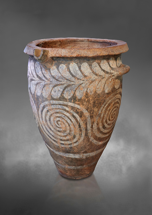 The Minoan clay burial pithos with swirl and leaf design,  Neopalatial period 1700-1450 BC; Heraklion Archaeological  Museum, grey background.<br /> <br /> The body was placed in a foetal postion to aid insertion into the wide mouthed pithos .<br /> <br /> If you prefer to buy from our ALAMY PHOTO LIBRARY  Collection visit : https://www.alamy.com/portfolio/paul-williams-funkystock/minoan-art-artefacts.html . Type -   Heraklion   - into the LOWER SEARCH WITHIN GALLERY box. Refine search by adding background colour, place, museum etc<br /> <br /> Visit our MINOAN ART PHOTO COLLECTIONS for more photos to download  as wall art prints https://funkystock.photoshelter.com/gallery-collection/Ancient-Minoans-Art-Artefacts-Antiquities-Historic-Places-Pictures-Images-of/C0000ricT2SU_M9w