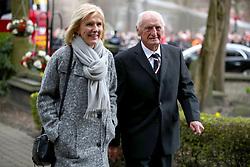 Retired footballer George Eastham arrives for the funeral service for Gordon Banks at Stoke Minster.
