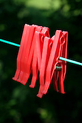empty washing line with red clothespins