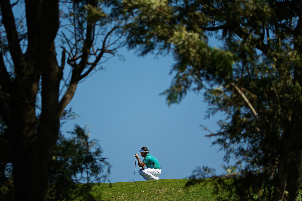 January 12 2015: Bubba Watson lines up his putt on number eleven during the Final Round of the Hyundai Tournament of Champions at Kapalua Plantation Course on Maui, HI.
