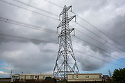 Electrical pylon placed in the Lydd caravan park on Jurys Gap Road, Lydd, Kent, United Kingdom.  (photo by Andrew Aitchison / In pictures via Getty Images)