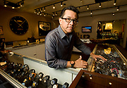 """PRICE CHAMBERS / NEWS&GUIDE<br /> Ted Garcia offers a wide selection of quality time pieces, pocket knives and jewlery at Jackson Time, a new store below the Snake River Grille. """"We're trying to carry watches from 79 dollars up to $30,000,"""" Garcia said. Among other things, the store also stocks the world's largest Wenger Swiss Army Knife, with 85 tools built into a single knife."""