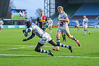 Rugby Union - 2020 / 2021 Gallagher Premiership - Round 4 - Harlequins vs Bristol Bears  - The Stoop<br /> <br /> Niyi Adeolokun, of Bristol Bears, goes over for his sides 4th try<br /> <br /> COLORSPORT/DANIEL BEARHAM
