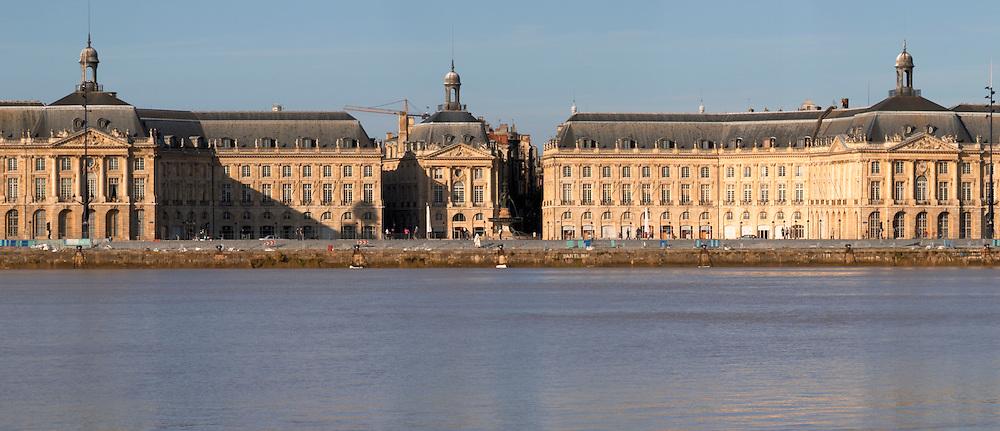 On Les Quais. Place de la Bourse. View from opposite river side. Bordeaux city, Aquitaine, Gironde, France