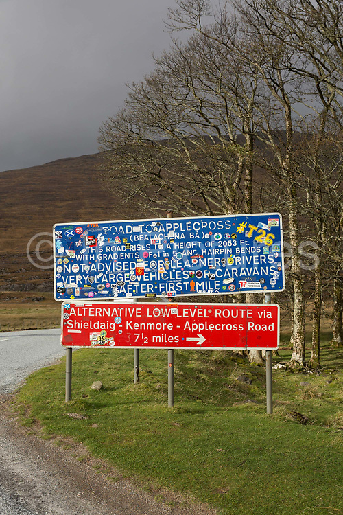 The Bealach na Bà Pass sign post in Wester Ross on the 4th November 2018 on the west coast of Scotland in the United Kingdom.