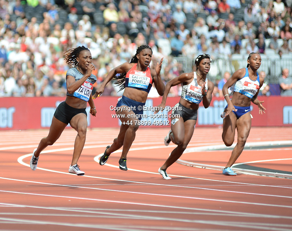 Marie-Josee Ta Lou competes in the women's 200m during the IAAF Diamond League at the Queen Elizabeth Olympic Park London, England on 20 July 2019.