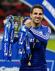 Cesc Fabregas of Chelsea celebrates after winning the Capital One Cup Final - Photo mandatory by-line: Rogan Thomson/JMP - 07966 386802 - 01/03/2015 - SPORT - FOOTBALL - London, England - Wembley Stadium - Chelsea v Tottenham Hotspur - Capital One Cup Final.
