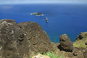 Orongo, Petroglyphs, Bird Man cult, Easter Island (Rapa Nui), Chile<br />