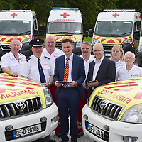 4-9-2018: An initiative which will result in the digital makeover of the Irish Red Cross ambulance fleet across Limerick city and county was launched today by Minister Patrick O'Donovan in Newcastle West. The project will see ambulances being kitted out with smart devices to capture key data replacing cumbersome and time-consuming reports by pen and paper which will dramatically improve efficiency around such critical tasks as ambulatory-care reports, patient-care reports, lifesaving equipment checks and daily fleet management and allow more emergency care and services will be delivered to the Irish public here at home, therefore helping the Irish Red Cross save more lives. Online lottery company Lottoland chose to support an Irish Red Cross initiative because of the variety of this charity's humanitarian projects both at home and abroad. Nationwide, the digital makeover will have a very positive impact on the 2,000 Irish Red Cross uniformed members who voluntarily give of the time and medical expertise to provide first aid cover around the country every week. The project launched today will see all traditional paper-based administration for the charity's entire fleet nationwide of 130 emergency ambulances digitised, saving each ambulance crew 1.5 hours per day, which equates to 40,560 personnel hours per year. In Limerick alone, the Irish Red Cross ambulance personnel will save 2,807 hours per year which is very significant time saving, allowing the operators concentrate on other important aspects of their day-to-day humanitarian operations. Pictured at the launch were Minister of State Patrick O'Donovan pictured with Tony Lawlor, National Director of Units, Irish Red Cross, Graham Ross, Country Manager, Lottoland.ie and County Limerick ambulance drivers, Peter O'Shea, John Campbell, Gerard Doody, Gina O'Dwyer and Tommy Gray.<br /> Photo: Don MacMonagle<br /> <br /> pr photo PHOTO:<br /> FURTHER INFO: Brian Purcell Big Picture Communications<br /> Tel - +353 87 967