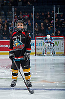 KELOWNA, CANADA - FEBRUARY 8: The Pepsi Player of the game lines up on the blue line at the Kelowna Rockets against the Prince George Cougars  on February 8, 2019 at Prospera Place in Kelowna, British Columbia, Canada.  (Photo by Marissa Baecker/Shoot the Breeze)