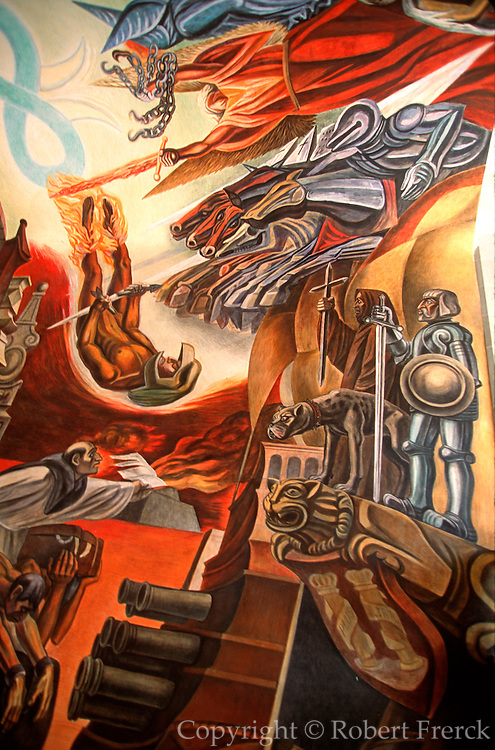 MEXICO, GUANAJUATO mural of Spanish Conquest of the Aztec