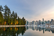 Panorama photo of Vancouver's Coal Harbour from Stanley Park in Vancouver, British Columbia, Canada