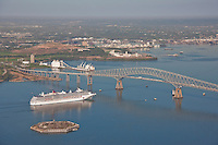 Aerial Photo of Cruise Ship Carnival Pride at Francis Scott Key Bridge.