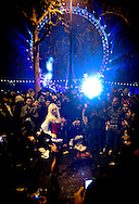 A girl is doing a striptease dance during the New Year's celebration in Westminster, near London Eye, in London