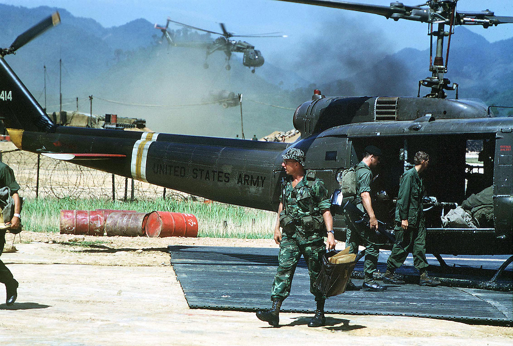American Special Forces seen back at base camp after an operation in the Central Highlands of Vietnam during the conflict in October 1970. Photographed by Terry Fincher