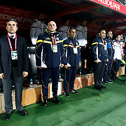 Fenerbahce's coach Aykut Kocaman (L) during their Turkish superleague soccer match Gaziantepspor between Fenerbahce at the Kamil Ocak stadium in Gaziantep Turkey on Saturday 26 January 2013. Photo by Aykut AKICI/TURKPIX