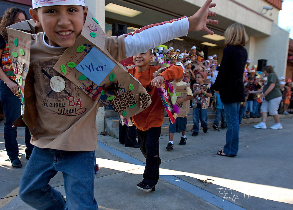"""/Andrew Foulk/ For The Californian/ .Tyler VerHoede, a first grader at Avaxat Elementary jumps and acts like a wild animal during the schools """"Wild Rumpus"""" where students dressed up as characters from the book """"Where the Wild Things Are""""."""