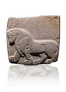 Aslantepe Hittite relief sculpted orthostat stone panel. Limestone, Aslantepe, Malatya, 1200-700 BC.  Anatolian Civilisations Museum, Ankara, Turkey. Depiction of a horse walking.<br /> <br /> Against a white background. <br /> <br /> If you prefer to buy from our ALAMY STOCK LIBRARY page at https://www.alamy.com/portfolio/paul-williams-funkystock/hittite-art-antiquities.html . Type - Aslantepe - in LOWER SEARCH WITHIN GALLERY box. Refine search by adding background colour, place, museum etc.<br /> <br /> Visit our HITTITE PHOTO COLLECTIONS for more photos to download or buy as wall art prints https://funkystock.photoshelter.com/gallery-collection/The-Hittites-Art-Artefacts-Antiquities-Historic-Sites-Pictures-Images-of/C0000NUBSMhSc3Oo