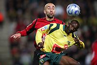 Fotball<br /> Frankrike<br /> Foto: Dppi/Digitalsport<br /> NORWAY ONLY<br /> <br /> FOOTBALL - FRENCH CUP 2006/2007 - 1/32 FINAL - FC NANTES v EN AVANT GUINGAMP - 06/01/2007 - MAMADOU DIALLO (NAN) / MILOVAN SIKIMIC (GUI)
