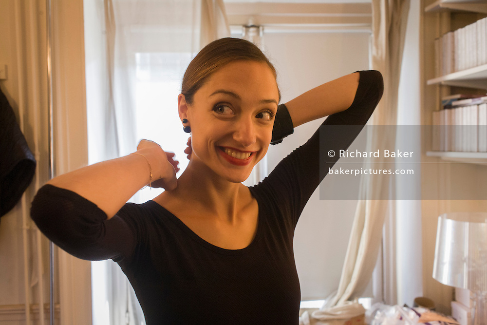 Ballerina, Dorothee Gilbert readies for her class in her dressing room at the Palais Garnier, Paris. <br /> <br /> From the chapter entitled 'Etoile' and from the book 'Risk Wise: Nine Everyday Adventures' by Polly Morland (Allianz, The School of Life, Profile Books, 2014). <br /> <br /> FOR REPRODUCTION OTHER THAN RELATED TO THE BOOK 'RISK WISE', PERMISSION FROM DOROTHEE GILBERT IS REQUIRED.