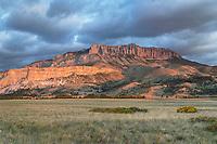 Sunrise over Castle Reef Mountain. Rocky Mountain front ranges near Augusta Montana