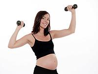 pregnant caucasian woman dumbbells exercise isolated studio on white background