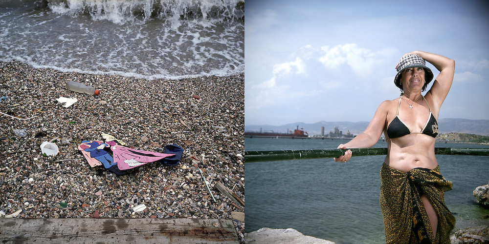 Garbage on the beach next to Halyvourgiki steel mill. Aspropyrgos, Saronic Gulf, Western Attica. Dina is swimming in Skaramagas bay for the last 20 years. Skaramagas, Saronic Gulf, West Attica.
