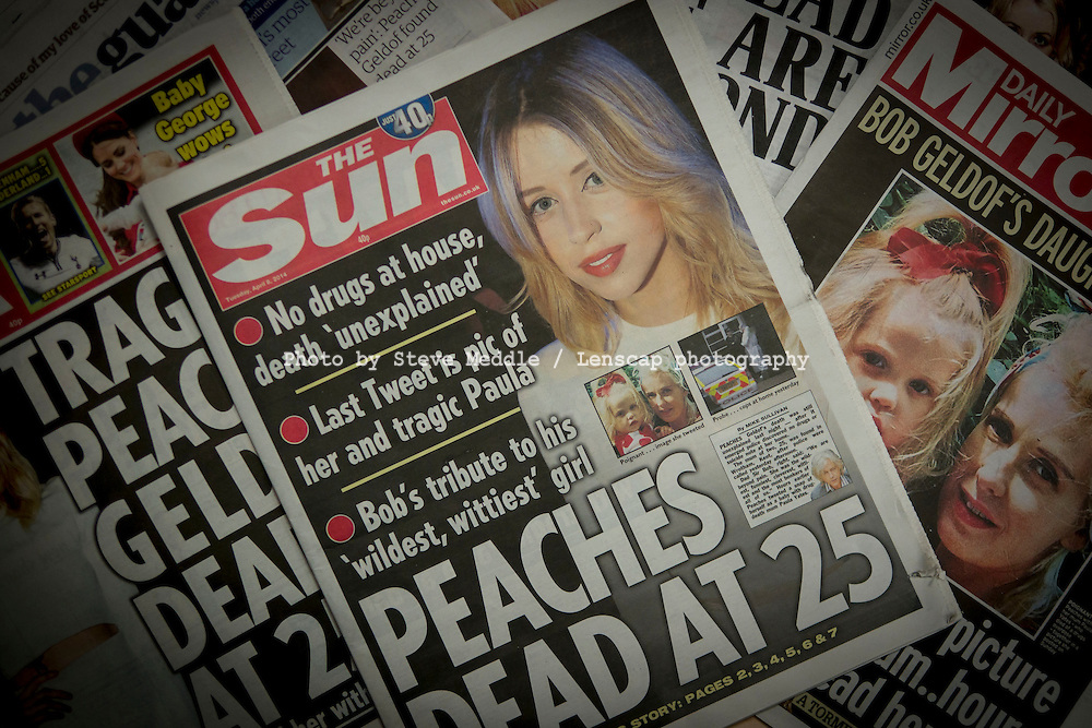 The Death of Peaches Geldof on the front pages of UK Tabloids