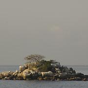 Island of rock on the bay. Acapulco, Guerrero. Mexico.