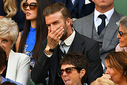 © Licensed to London News Pictures. 02/07/2016. DAVID BECKHAM watches tennis from the Royal Box on the centre court on the sixth day of the WIMBLEDON Lawn Tennis Championships.  London, UK. Photo credit: Ray Tang/LNP