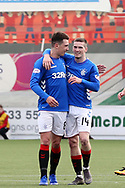 GOAL Rangers midfielder Ryan Jack (8) scores and team mate Rangers midfielder Ryan Kent (14) congratulates him during the Ladbrokes Scottish Premiership match between Hamilton Academical FC and Rangers at New Douglas Park, Hamilton, Scotland on 24 February 2019.