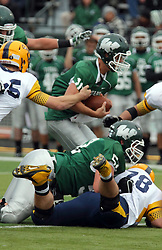 18 October 2014:  Donovan Laible looks for some running room up the middle during an NCAA division 3 football game between the Augustana Vikings and the Illinois Wesleyan Titans in Tucci Stadium on Wilder Field, Bloomington IL