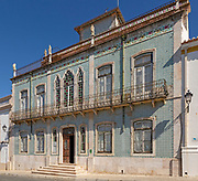 Historic old traditional Portuguese building with  facade of ceramic tiles Azulejo pattern, Castro Verde, Portugal, southern Europe