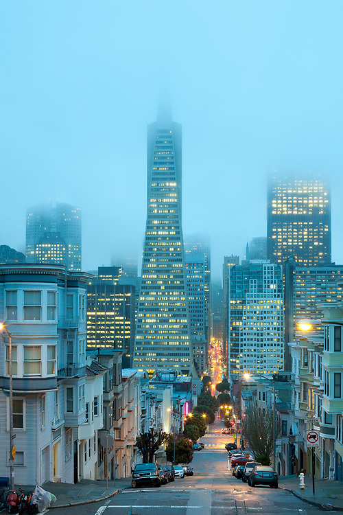 Skyline of Financial District at dusk, San Francisco, California, United States.