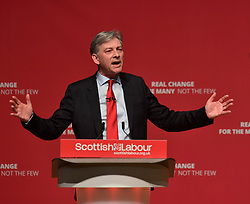 Scottish Labour leader Richard Leonard delivers his keynote speech at the Scottish Labour spring conference 2019 in Dundee, watched by Labour leader Jeremy Corbyn.<br /> <br /> © Dave Johnston / EEm