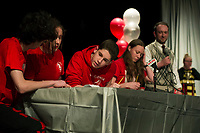"""""""This is WARman"""" Team of Noah Mousseau, Abigail Bailey, Dakota Cross and Syndey Warman make it to the final Championship round with Team Sagacious Spellerzzz during LHS Spelling Bee Thursday evening.  (Karen Bobotas/for the Laconia Daily Sun)"""