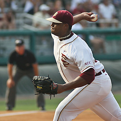 June 03, 2011; Tallahassee, FL, USA; Florida State Seminoles starting pitcher Hunter Scantling (30) during the first inning of the Tallahassee regional of the 2011 NCAA baseball tournament against Bethune-Cookman at Dick Howser Stadium. Mandatory Credit: Derick E. Hingle